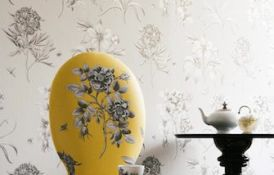 Etchings And Roses Ivory Wallpaper Yellow Chair